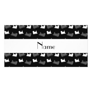 Personalized name black train pattern photo greeting card