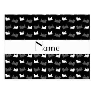 Personalized name black train pattern postcard