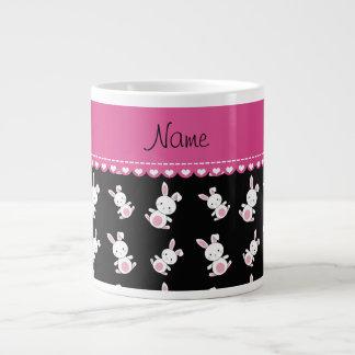 Personalized name black white bunnies pink stripe jumbo mug