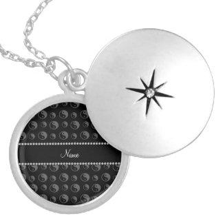 Personalized name black ying yang pattern round locket necklace