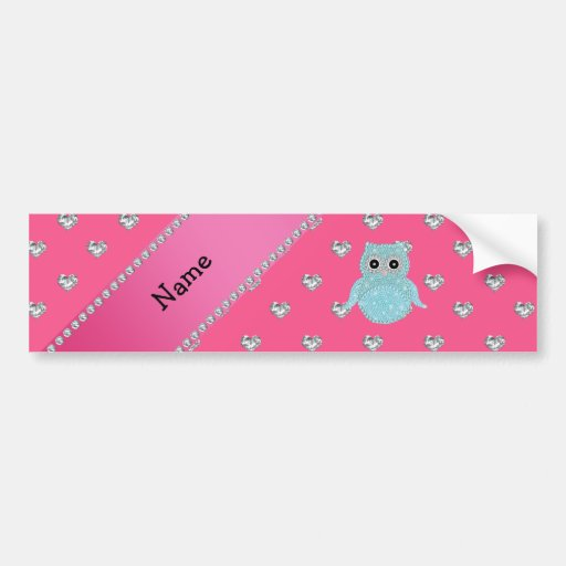 Personalized name bling owl diamonds pink hearts bumper sticker