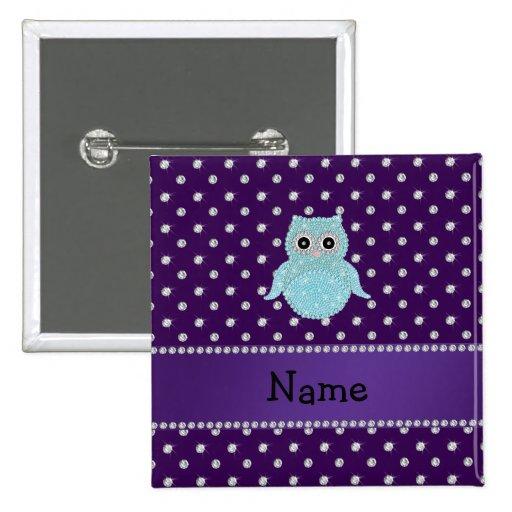 Personalized name bling owl diamonds purple diamon pin