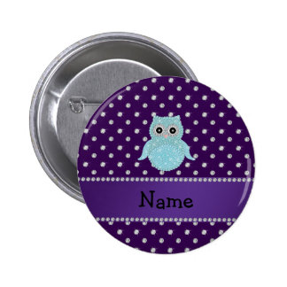 Personalized name bling owl diamonds purple diamon pinback button