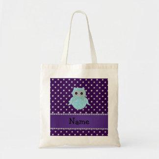 Personalized name bling owl diamonds purple diamon budget tote bag