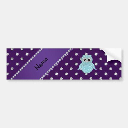Personalized name bling owl diamonds purple diamon bumper sticker