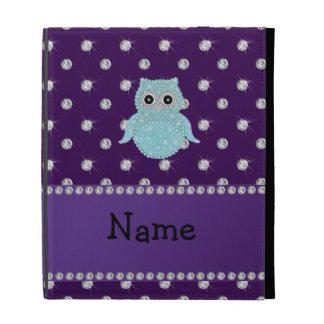 Personalized name bling owl diamonds purple diamon iPad folio covers
