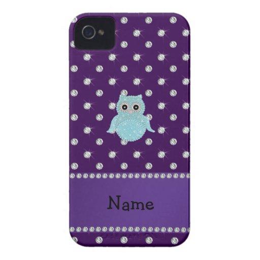 Personalized name bling owl diamonds purple diamon Case-Mate iPhone 4 case