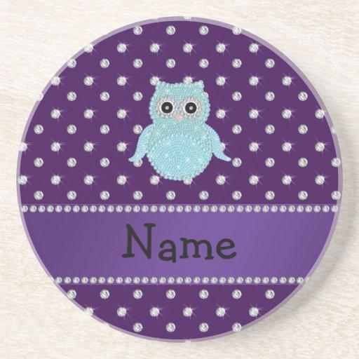 Personalized name bling owl diamonds purple diamon beverage coasters