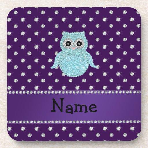 Personalized name bling owl diamonds purple diamon drink coasters