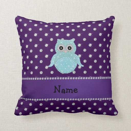 Personalized name bling owl diamonds purple diamon pillow