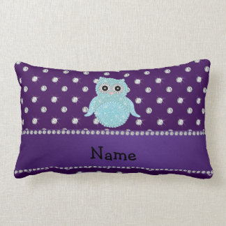 Personalized name bling owl diamonds purple diamon throw pillow