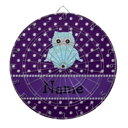 Personalized name bling owl diamonds purple diamon dart board