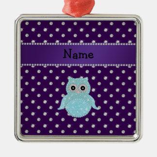 Personalized name bling owl diamonds purple diamon christmas ornaments