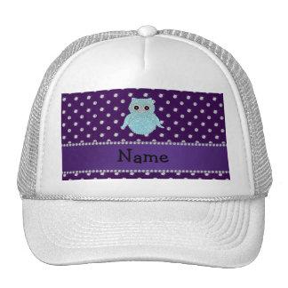 Personalized name bling owl diamonds purple diamon trucker hat