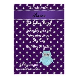 Personalized name bling owl diamonds purple diamon custom invitations