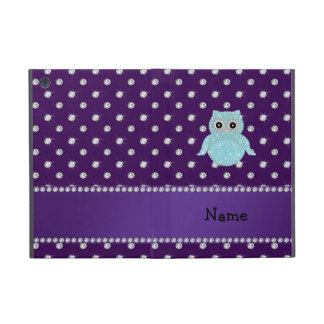 Personalized name bling owl diamonds purple diamon iPad mini covers