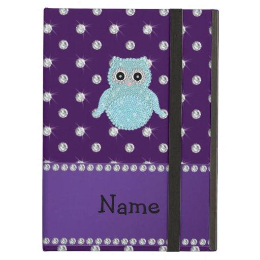 Personalized name bling owl diamonds purple diamon iPad folio cases