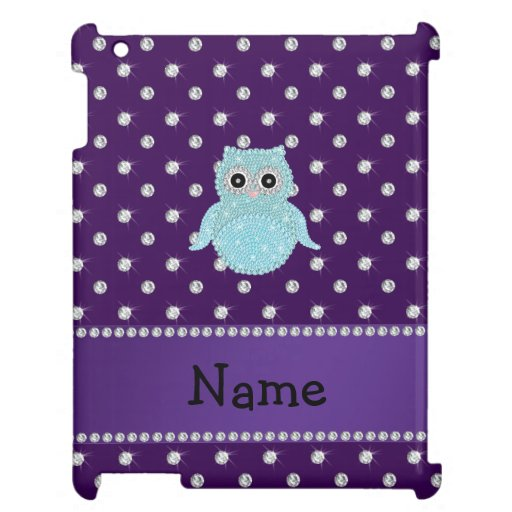 Personalized name bling owl diamonds purple diamon case for the iPad