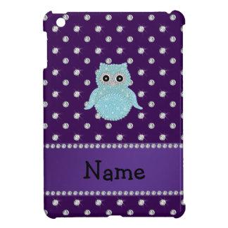 Personalized name bling owl diamonds purple diamon iPad mini cover