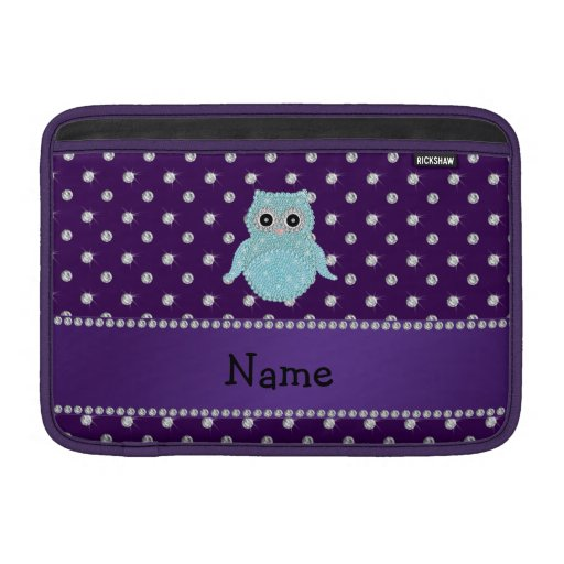 Personalized name bling owl diamonds purple diamon MacBook sleeves