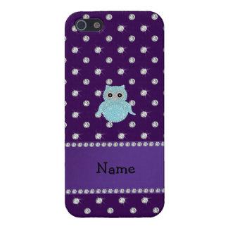 Personalized name bling owl diamonds purple diamon iPhone 5/5S covers