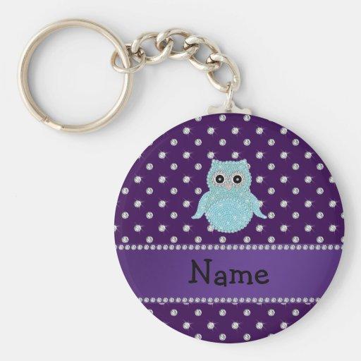 Personalized name bling owl diamonds purple diamon key chain