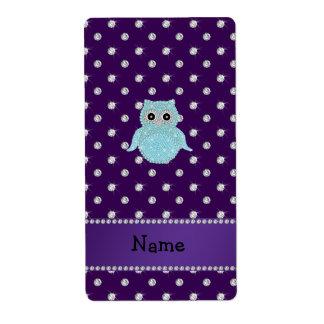 Personalized name bling owl diamonds purple diamon shipping label