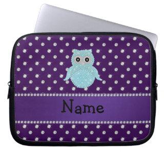 Personalized name bling owl diamonds purple diamon laptop computer sleeve
