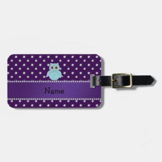 Personalized name bling owl diamonds purple diamon tag for bags