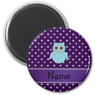 Personalized name bling owl diamonds purple diamon fridge magnets