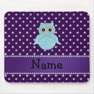 Personalized name bling owl diamonds purple diamon mousepad