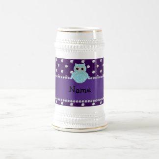 Personalized name bling owl diamonds purple diamon coffee mugs