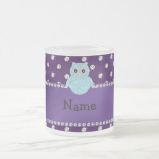 Personalized name bling owl diamonds purple diamon frosted glass mug