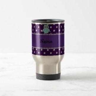 Personalized name bling owl diamonds purple diamon stainless steel travel mug