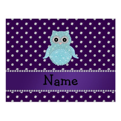 Personalized name bling owl diamonds purple diamon post card