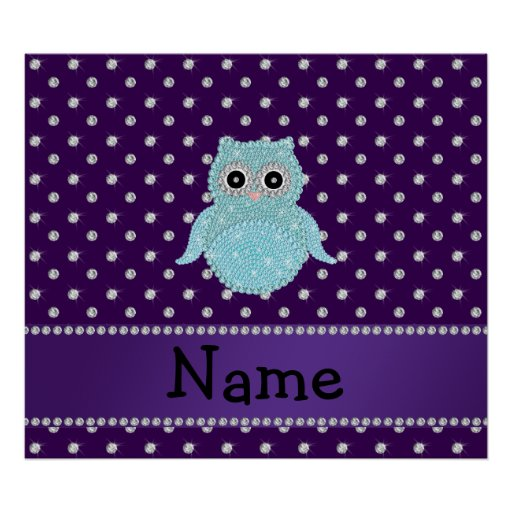 Personalized name bling owl diamonds purple diamon poster
