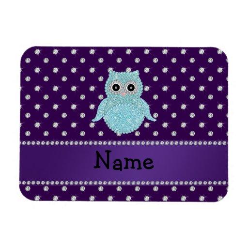 Personalized name bling owl diamonds purple diamon rectangular magnets