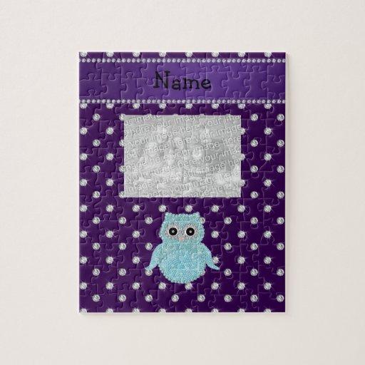 Personalized name bling owl diamonds purple diamon jigsaw puzzle