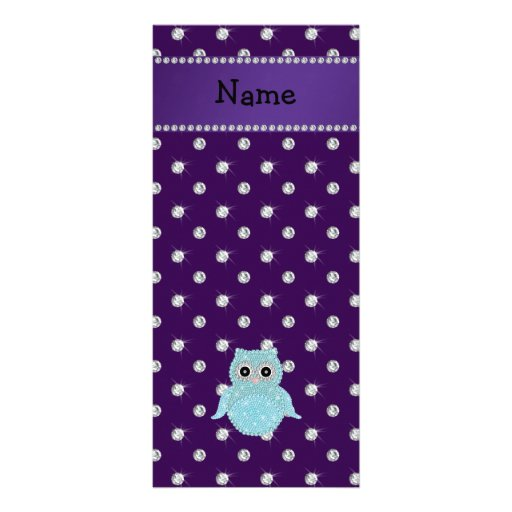 Personalized name bling owl diamonds purple diamon custom rack cards