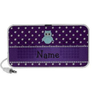 Personalized name bling owl diamonds purple diamon mini speakers