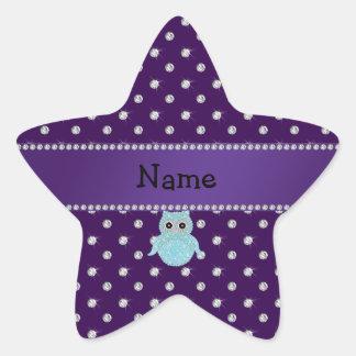 Personalized name bling owl diamonds purple diamon star sticker