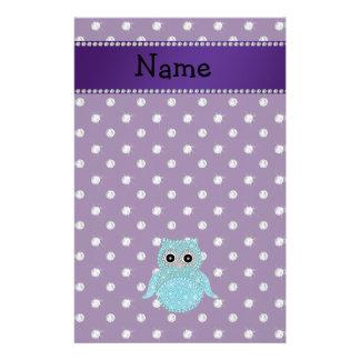 Personalized name bling owl diamonds purple diamon stationery paper