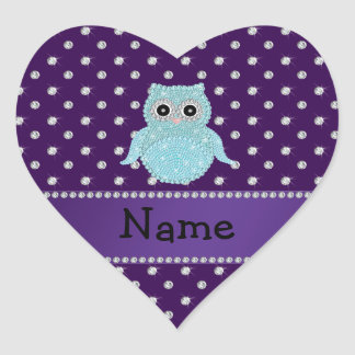 Personalized name bling owl diamonds purple diamon sticker