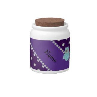 Personalized name bling owl diamonds purple diamon candy dish