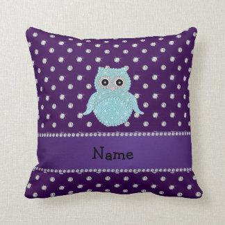 Personalized name bling owl diamonds purple diamon throw cushions