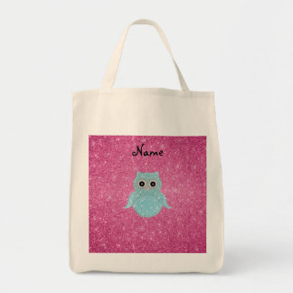Personalized name bling owl diamonds grocery tote bag