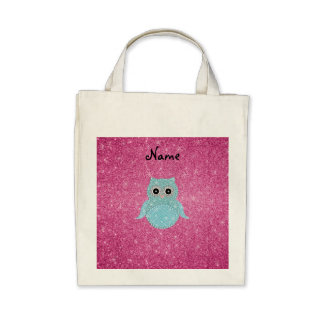 Personalized name bling owl diamonds tote bags