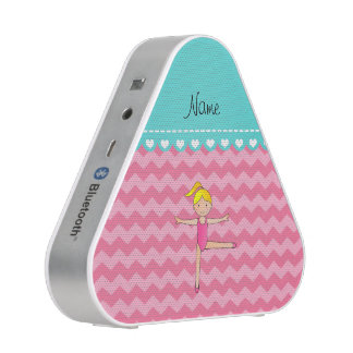 Personalized name blonde gymnast pink chevrons speaker