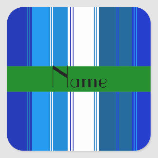 Personalized name Blue and whites stripes Square Sticker