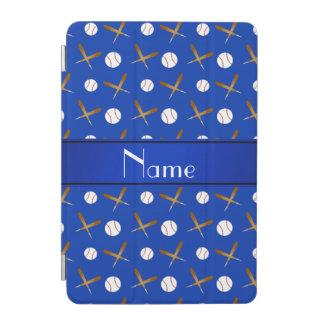Personalized name blue baseballs bats iPad mini cover